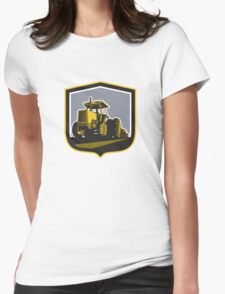 Farmer Driving Vintage Farm Tractor Plowing Retro Womens Fitted T-Shirt