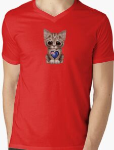 Cute Kitten Cat with New Zealand Flag Heart Mens V-Neck T-Shirt