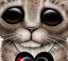 Cute Kitten Cat with Palestinian Flag Heart Sticker
