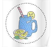 illustration for greeting cards, magazine, cafe and restaurant menu. Fresh smoothies, detox, fruit cocktail for healthy life, diets. A set of quirky cartoon patch badges or fashion pin badges Poster