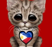 Cute Kitten Cat with Filipino Flag Heart by Jeff Bartels