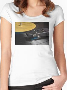 Vinyl Record Playing on a Turntable Overview Women's Fitted Scoop T-Shirt