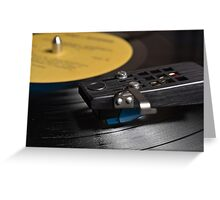 Vinyl Record Playing on a Turntable Overview Greeting Card