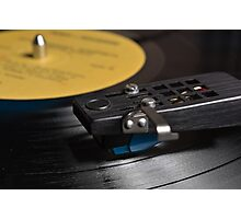 Vinyl Record Playing on a Turntable Overview Photographic Print