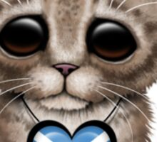 Cute Kitten Cat with Scottish Flag Heart Sticker
