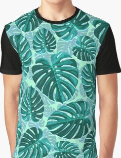 Tropical Leaf Monstera Plant Pattern Graphic T-Shirt