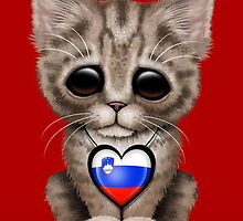 Cute Kitten Cat with Slovenian Flag Heart by Jeff Bartels