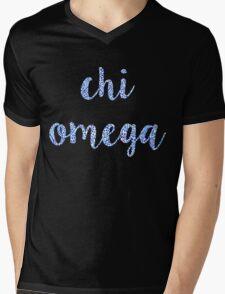 Chi Omega Blue Plant Design Mens V-Neck T-Shirt