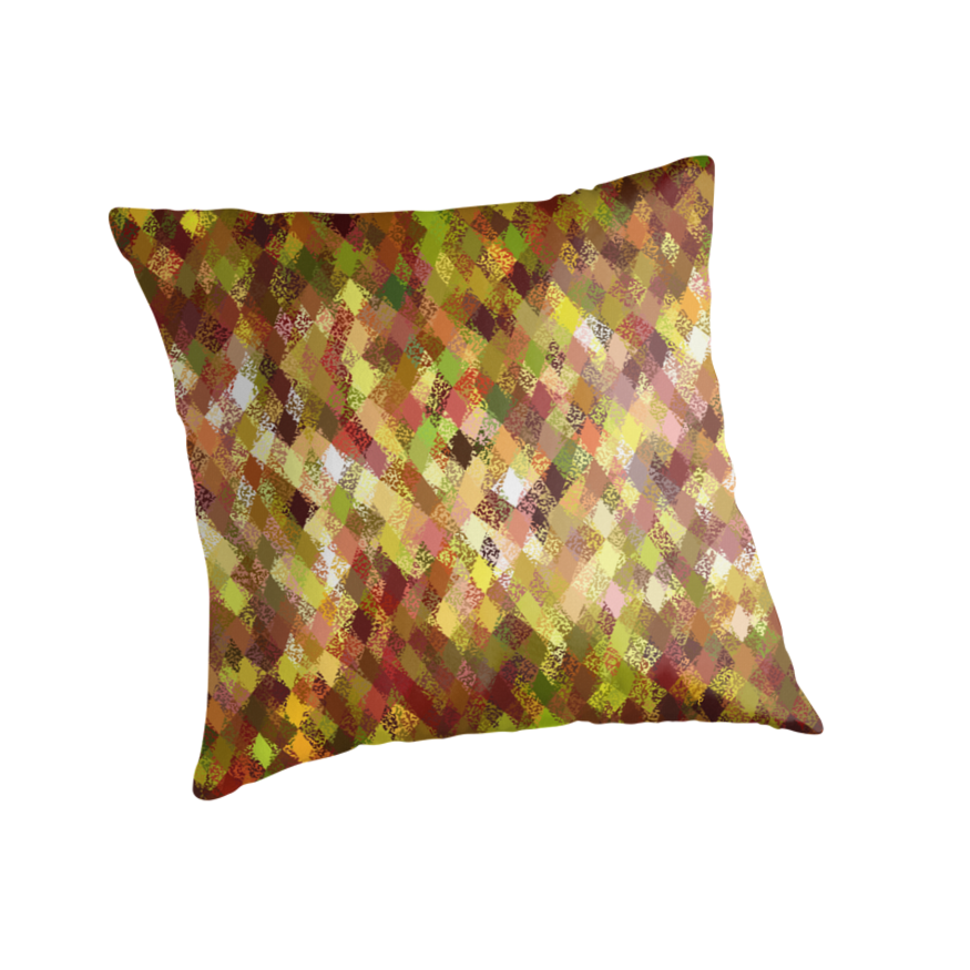 Autumn Colours Harlequin Abstract Pattern Cushion and Tote Bag by Ra12