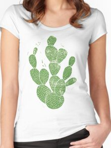 Linocut Cacti #1 Women's Fitted Scoop T-Shirt