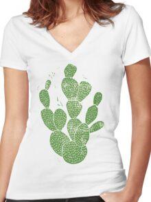 Linocut Cacti #1 Women's Fitted V-Neck T-Shirt