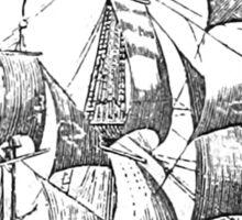 3 Mast Ship - Line Work Sticker