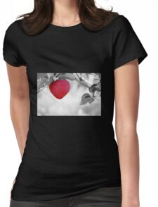 Red Apple heart Womens Fitted T-Shirt
