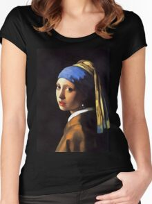 Girl with a Pearl Earring After Johannes Vermeer Women's Fitted Scoop T-Shirt