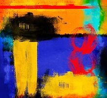 Blue and Yellow Abstract by debsrockine
