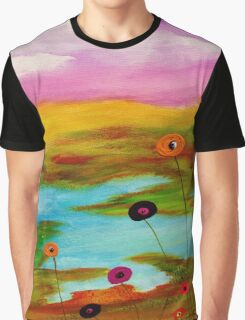 Abstract landscape with flowers. Graphic T-Shirt