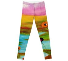 Abstract landscape with flowers. Leggings