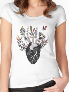 Floral Heart Women's Fitted Scoop T-Shirt