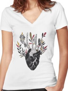 Floral Heart Women's Fitted V-Neck T-Shirt