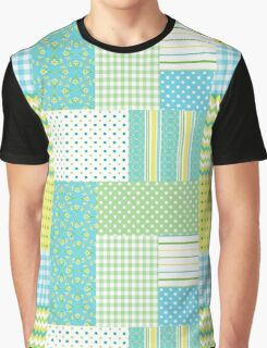 Spring Sunshine Daffodils Faux Patchwork Pattern Graphic T-Shirt