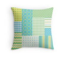 Spring Sunshine Daffodils Faux Patchwork Pattern Throw Pillow