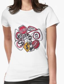 Traffic Signs Mandala Womens Fitted T-Shirt