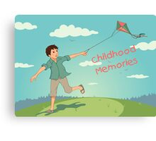 Happy running boy with a kite. Childhood memories Canvas Print
