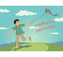 Happy running boy with a kite. Childhood memories Photographic Print