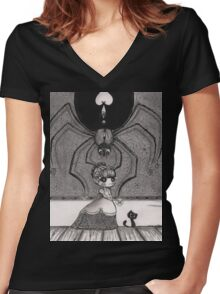 playing with flowers Women's Fitted V-Neck T-Shirt