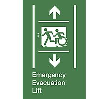 Emergency Evacuation Lift Sign, Left Hand Down and Up Arrows, with the Accessible Means of Egress Icon and Running Man, part of the Accessible Exit Sign Project Photographic Print
