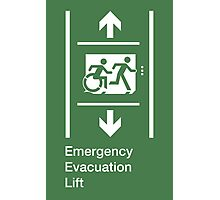 Emergency Evacuation Lift Sign, Right Hand Down and Up Arrows, with the Accessible Means of Egress Icon and Running Man, part of the Accessible Exit Sign Project Photographic Print