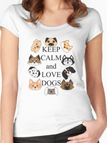 Keep calm and love dogs Women's Fitted Scoop T-Shirt