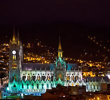 Old Cathedral of Quito At Night by Al Bourassa