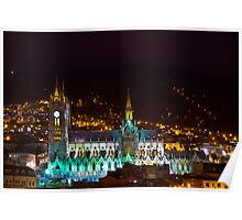 Old Cathedral of Quito At Night Poster