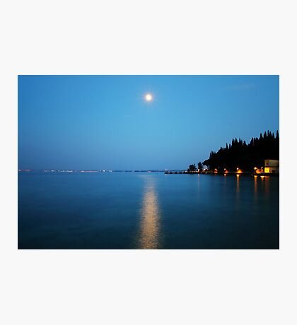 Sirmione (Italy) - Moonlight on water Photographic Print