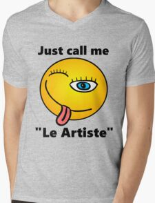 Cheeky Smile Emoji Picasso Be Happy Just Call Me le artiste Mens V-Neck T-Shirt