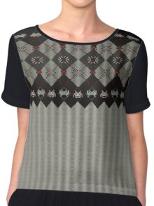 Knitted space invaders ugly sweater Chiffon Top