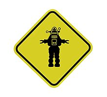 Robot Road Sign Photographic Print