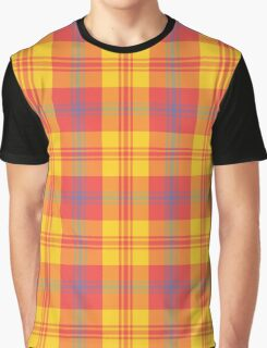 Chic Bright Red, Yellow and Blue Plaid Graphic T-Shirt
