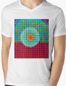Gerbena Grid Mens V-Neck T-Shirt