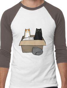 Cats in a Box Men's Baseball ¾ T-Shirt