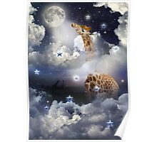Shoot For The Moon (Giraffe In The Clouds) Poster
