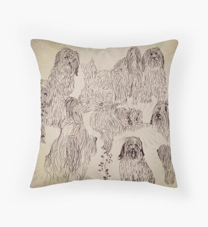 Posing Pups Throw Pillow