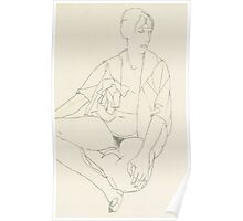 Seated female nude with open blouse Poster