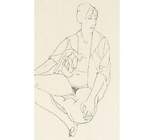 Seated female nude with open blouse Photographic Print