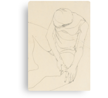 Female nude bent forward, both hands on the left thigh Canvas Print