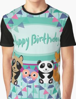 Happy birthday card animals Graphic T-Shirt
