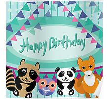 Happy birthday card animals Poster