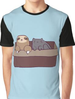 Sloth and Cat in a Box Graphic T-Shirt