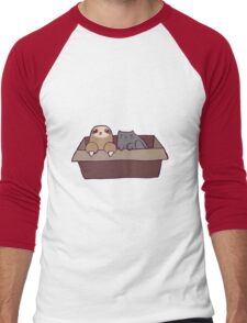 Sloth and Cat in a Box Men's Baseball ¾ T-Shirt